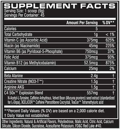 C4 50X nutrition label