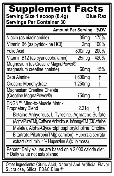 ENGN Pre Workout by Evlution Nutrition facts label