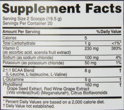 Optimum Nutrition PRO BCAA nutrition label