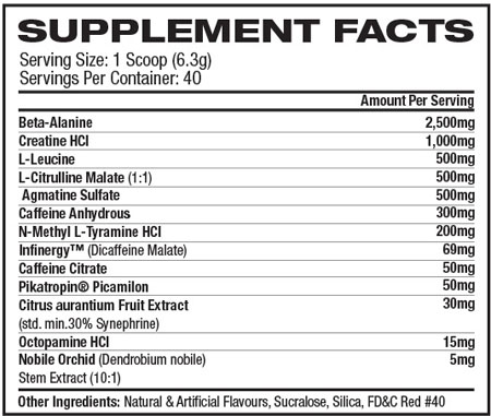 Pro Supps Mr Hyde Nutrition Label