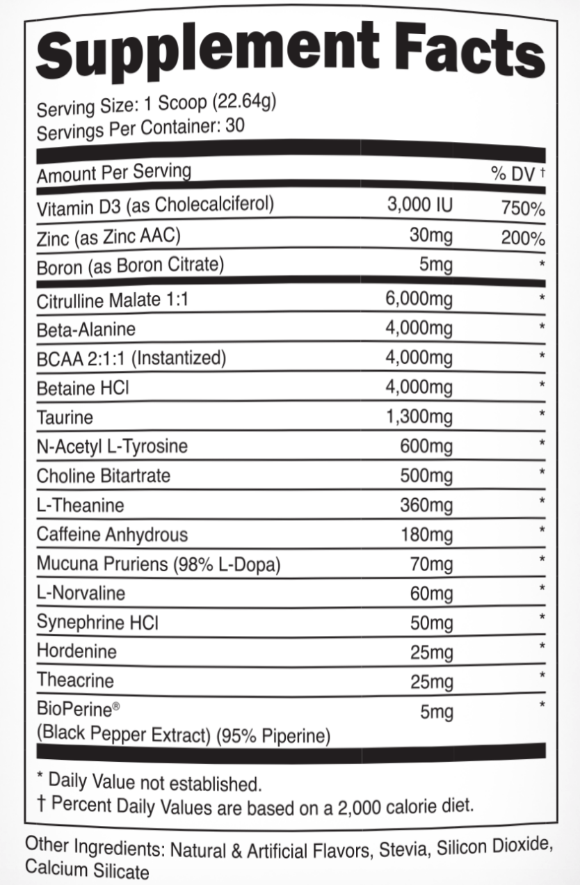 Transparent Labs PreSeries BULK nutrition label