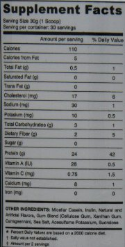 4-Dimension-Nutrition-Casein nutrition label