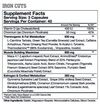 Arnold Schwarzenegger Series Iron Cuts Nutrition label
