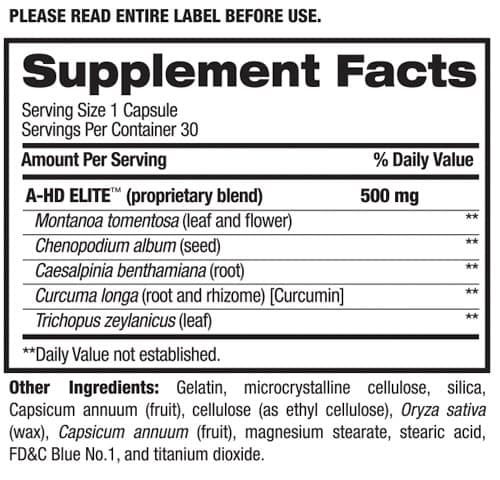 BPI Sports A-HD nutrition label