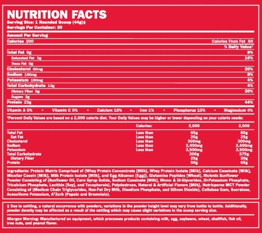 BSN-Syntha-6-nutrition-label