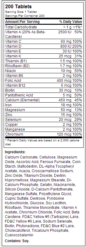 Bayer HealthCare One A Day Womens nutrition label