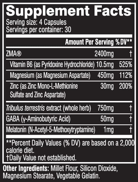 Cellucor COR-Performance ZMA nutrition label