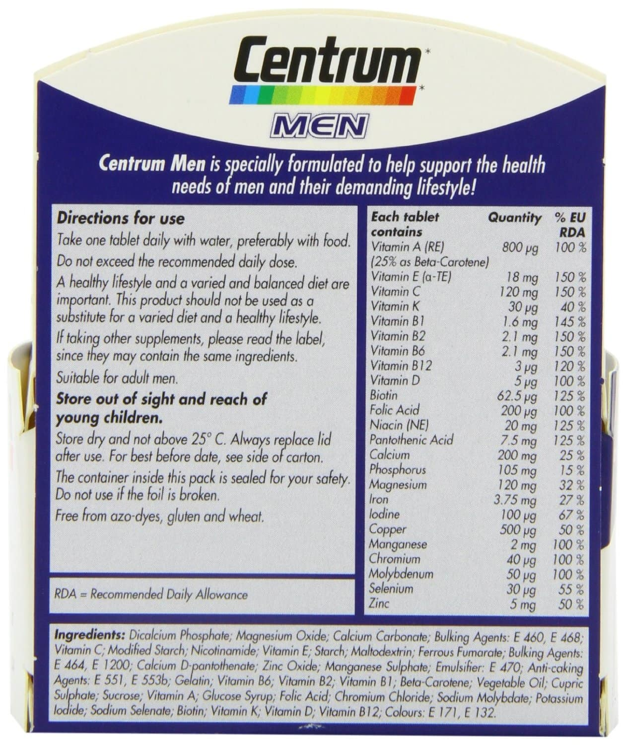 Centrum Mens Multivitamin nutrition label