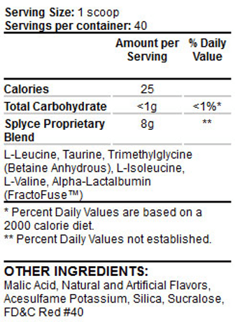 DS Splyce Intra Workout AAs nutrition label