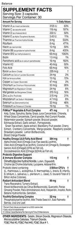 FitMiss Balance nutrition label