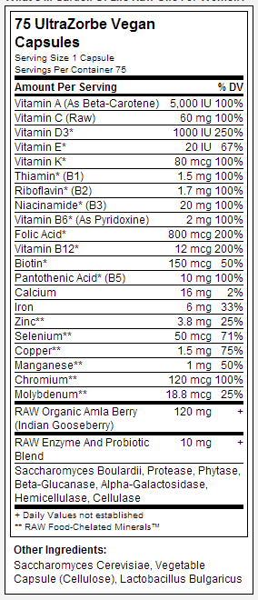 Garden Of Life Raw One nutrition label
