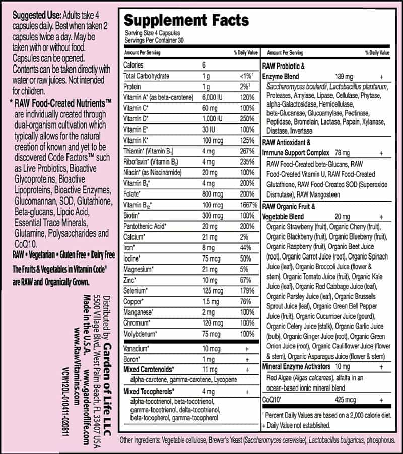 Garden of Life Vitamin Code Women nutrition label