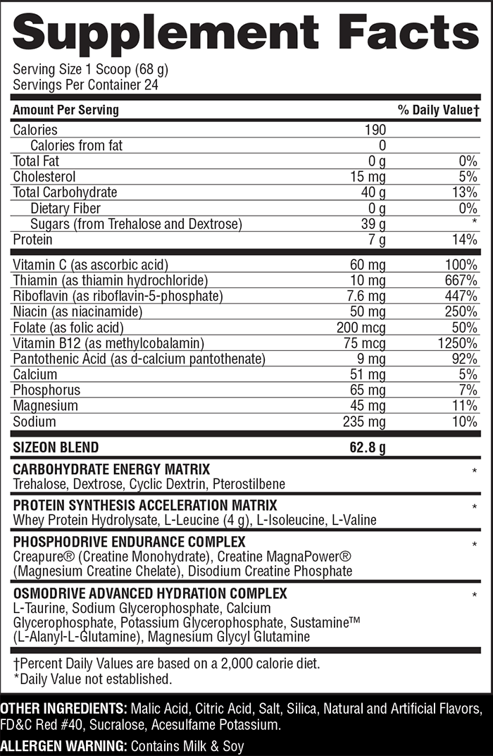 Gaspari Nutrition SizeOn Maximum Performance nutrition label