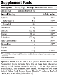 Inner Armour CASEIN aa nutrition label