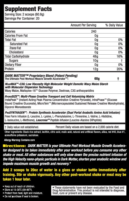 MHP Dark Matter nutrition label