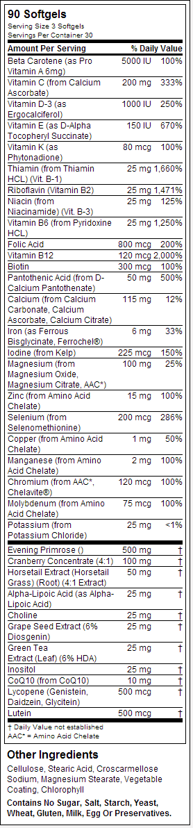 NOW Eve nutrition label