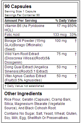 NOW Female Balance nutrition label
