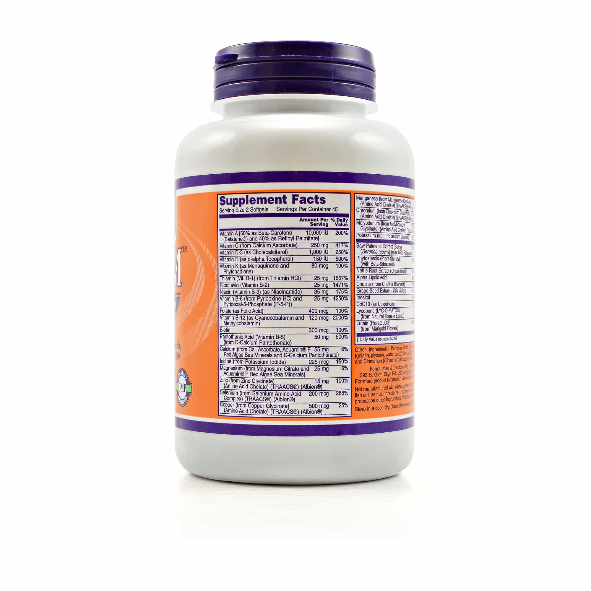 NOW Foods ADAM nutrition label