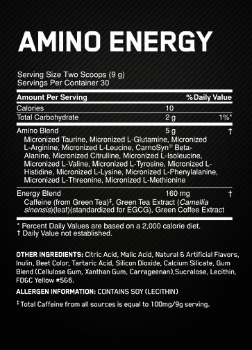 Optimum Nutrition Essential AmiNO Energy nutrition label