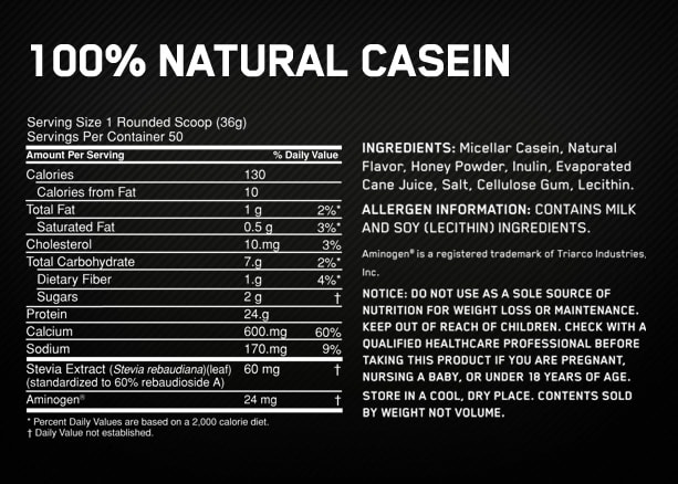 Optimum Nutrition Gold Standard 100 Casein nutrition label