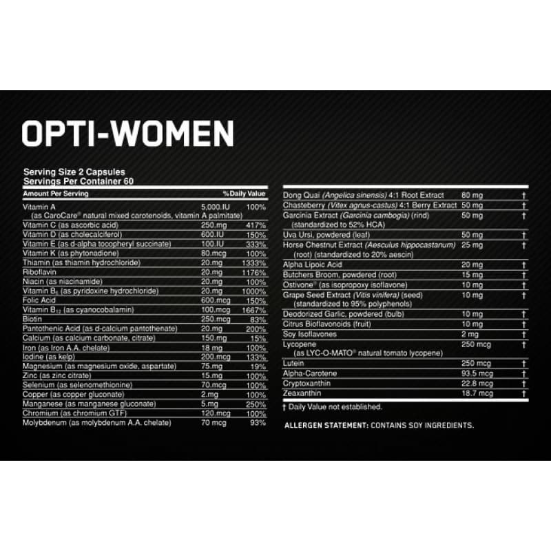 Optimum Nutrition Opti-Women nutrition label