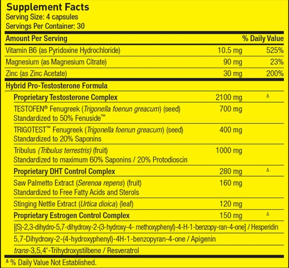 PharmaFreak TEST FREAK nutrition label