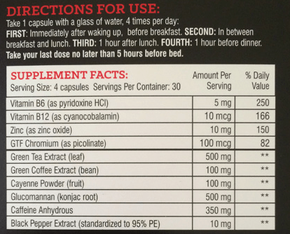 instant knockout fat burner nutrition facts