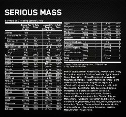 serious mass nutritional label