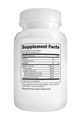 Transparent Labs CoreSeries Krill Oil supplement Facts