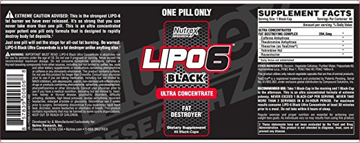 Nutrex Lipo 6 Black Supplement Facts Label